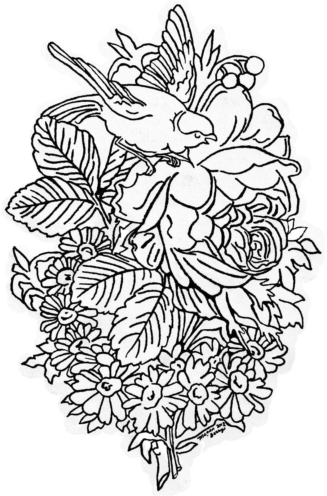 Lilac   Lavender  Vintage Bird   Flowers   Clip Art