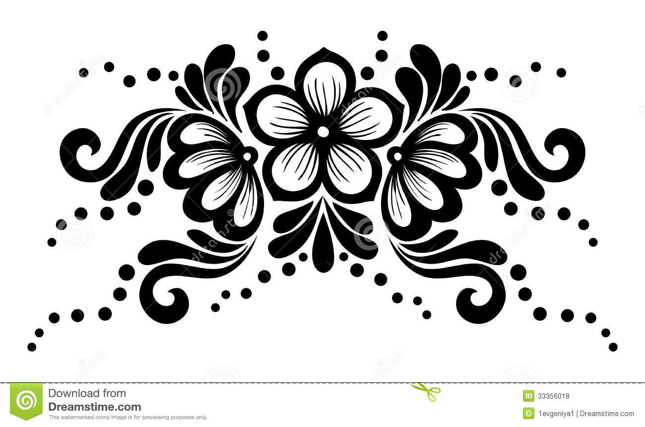 Royalty Free Stock Photos  Black And White Lace Flowers And Leaves