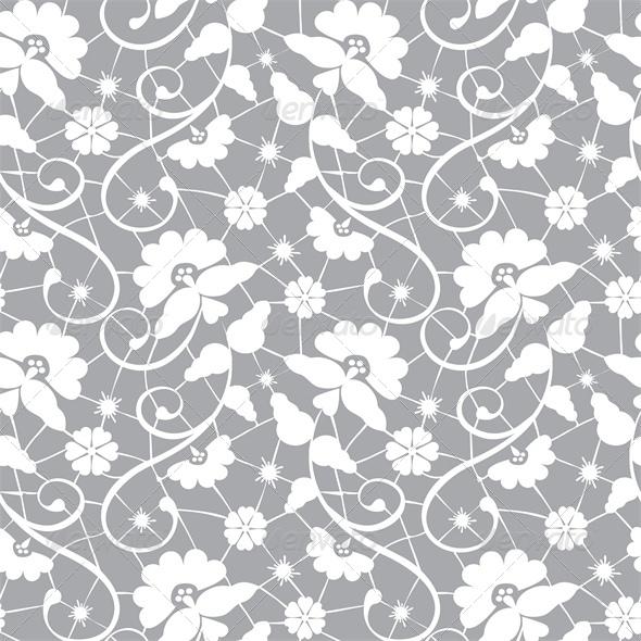 Seamless Lace Pattern On Grey Background   Backgrounds Decorative