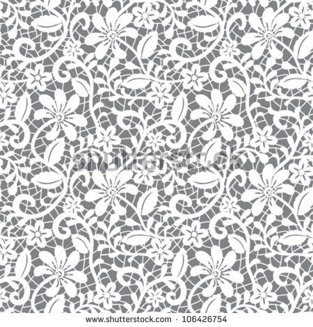 White Seamless Lace Floral Pattern On Gray Background   Stock Vector