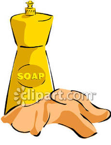 Bottle Of Dish Washing Soap And A Rag   Royalty Free Clipart Picture