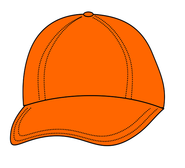 Bright Orange Cap   Free Clip Art