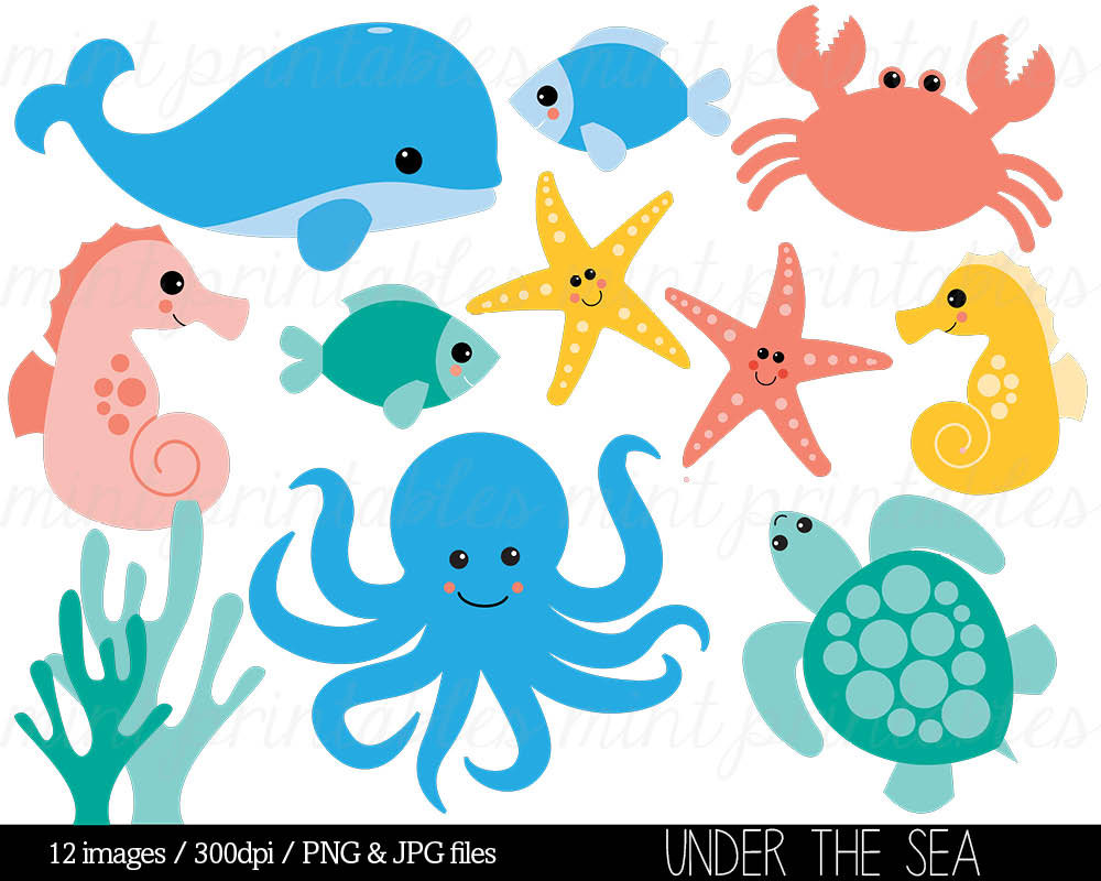 Clip Art Sea Creatures Clipart sea creatures clipart kid cartoon animals animal under the