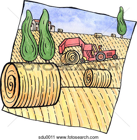 Clipart   A Tractor Rolling Bales Of Hay In The Field  Fotosearch