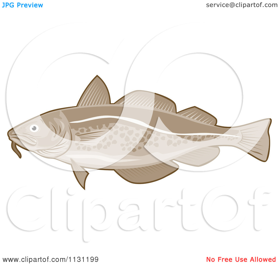 Clipart Of A Retro Atlantic Cod Fish   Royalty Free Vector