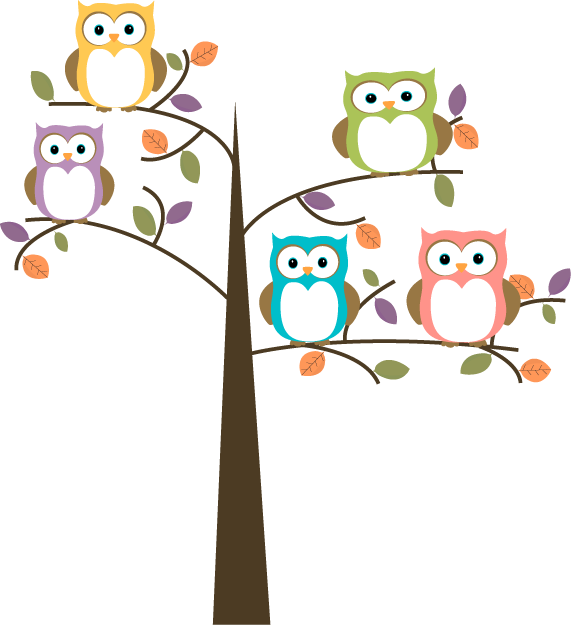 Colorful Owls In Pretty Tree Clip Art   Colorful Owls In Pretty Tree