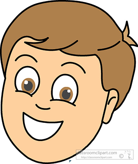 Faces   Boy Smiling Face   Classroom Clipart