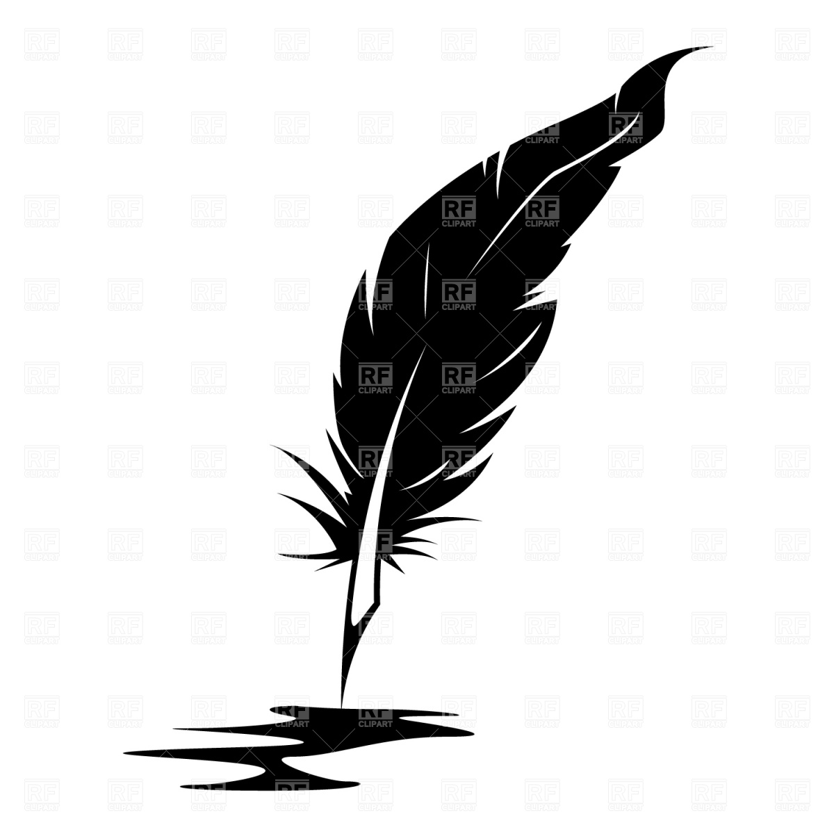 Feather And Ink Blot Download Royalty Free Vector Clipart  Eps