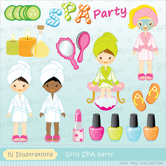 Hj Illustrations  Girls Spa Party Digital Clipart