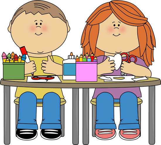 Kids In Art Class Clip Art Image   Kids Sitting At A Table In Art