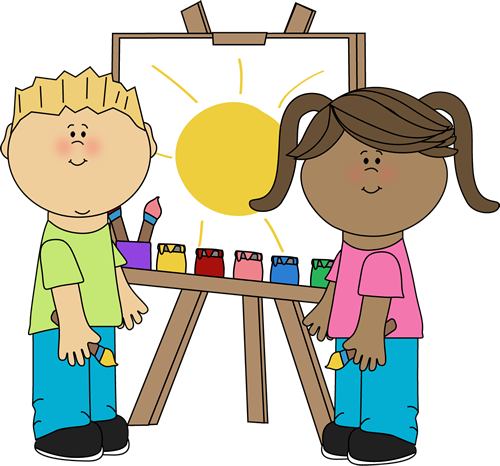Kids Painting On Easel Clip Art Image   Kids Standing At An Easel And