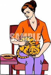 Lap Clipart A Woman Holding Her Cat On Her Lap 101109 232837 518009