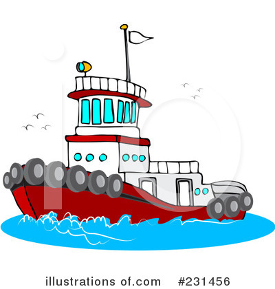 Royalty Free  Rf  Tug Boat Clipart Illustration By Djart   Stock