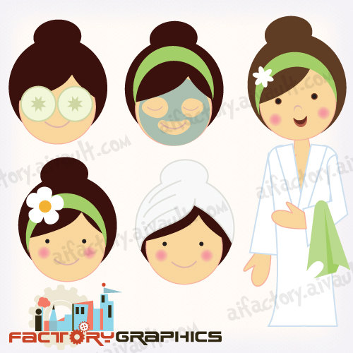 Spa Girl In Robes Clipart For Invitations  Graphic Design And Crafts