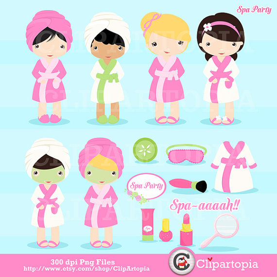 Spa Party Digital Clipart   Girls Spa Party Cute Clip Art For Personal