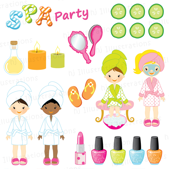 Spa Party Invitation Spa Party Spa Party Clipart Spa Clipart Nail