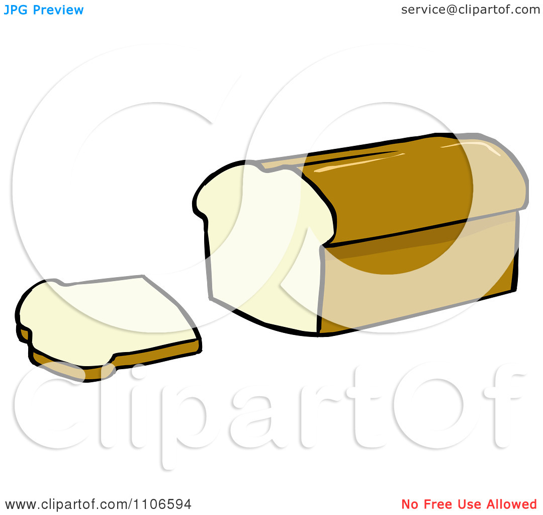 Clipart Loaf Of Bread And Slice   Royalty Free Vector Illustration By
