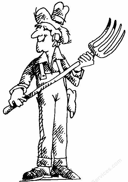 Cute Farmer Black And White Clipart - Clipart Suggest