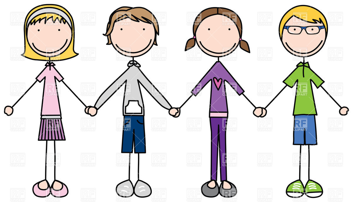 Happy Kids Join Hands In Simple Cartoon Style 28189 People Download