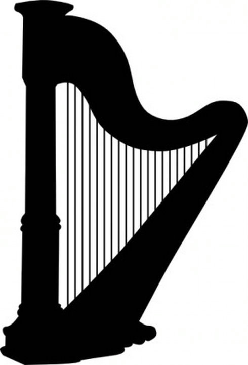 Harp Silhouette Clip Art   Free Vector Download   Graphicsmaterial