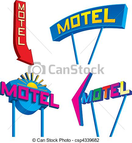 Motel Signs At    Csp4339682   Search Clipart Illustration Drawings