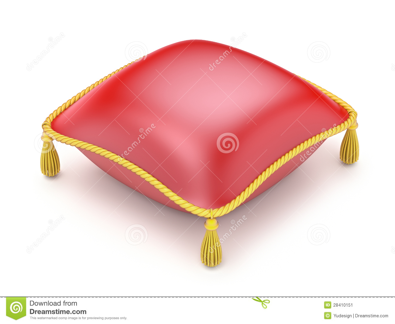 Red Pillow Over White Background   3d Illustration