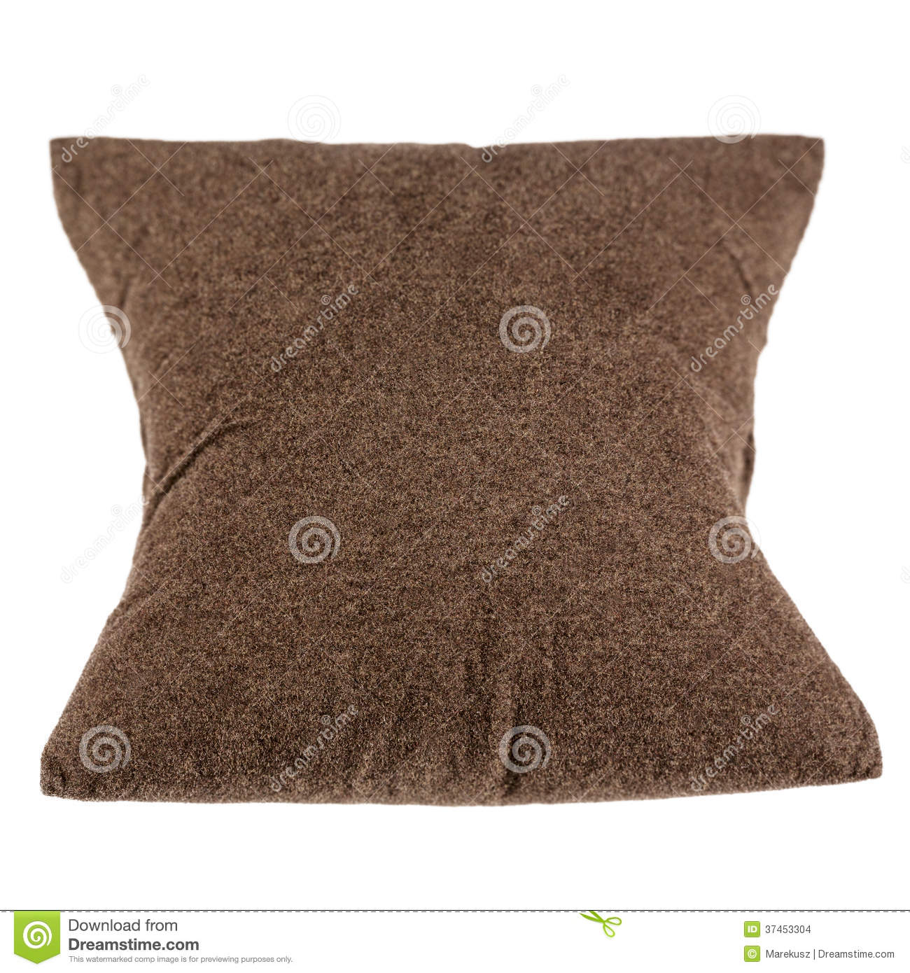 Soft Pillow Made Of Dark Soft Fabrics Shown On A White Background