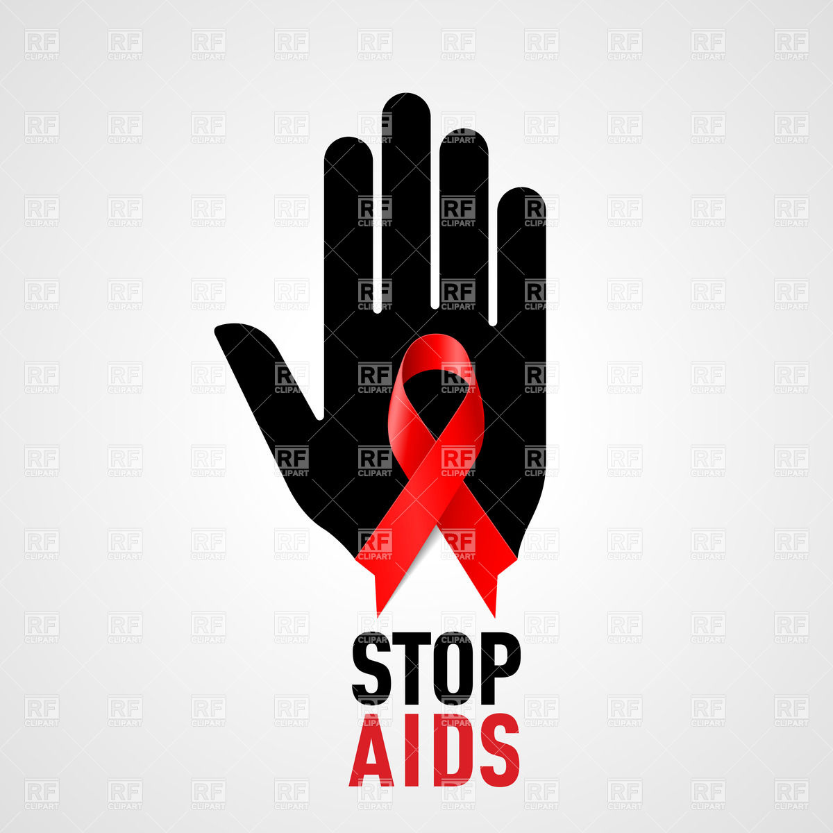 Stop Aids Sign  Black Hand With Red Ribbon 26058 Healthcare Medical