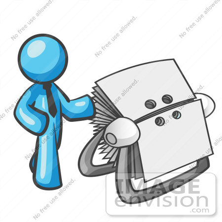 Art Graphic Of A Sky Blue Guy Character With An Index Card File  35907