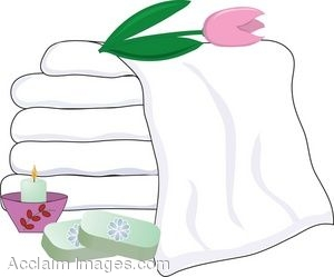 Clip Art Of Spa Items Towels And Soaps