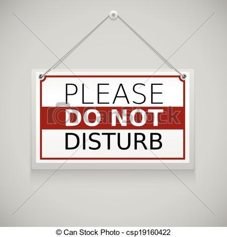 Do Not Disturb Sign Hanging On The Wall Csp19160422   Search Clipart