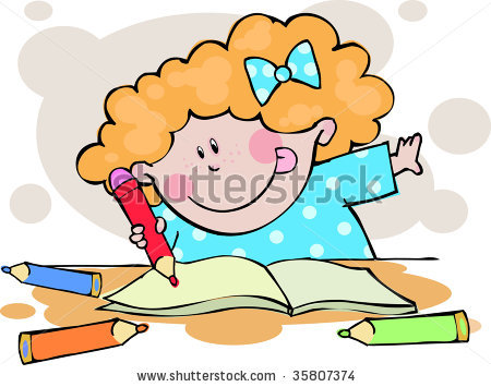 Girl Doing Homework Clipart - Clipart Kid