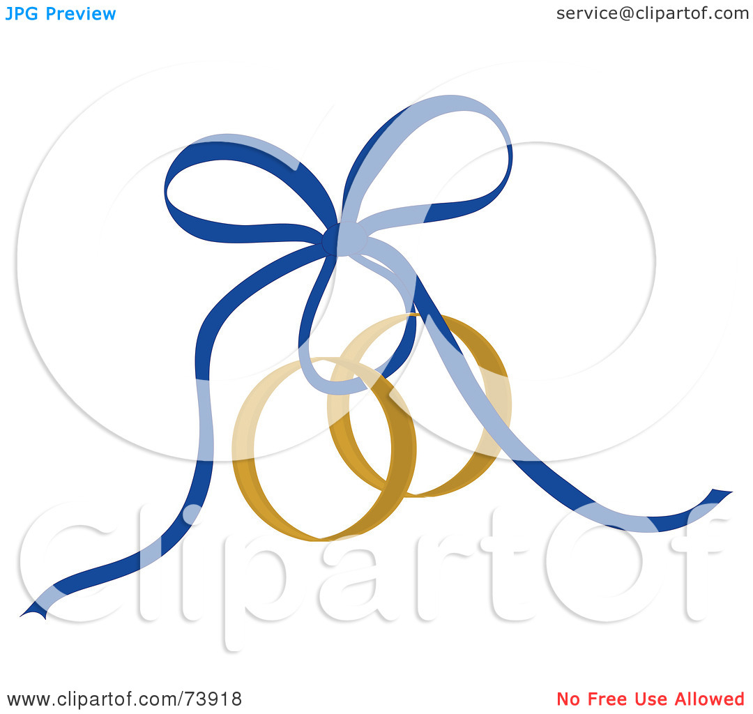 Free  Rf  Clipart Illustration Of A Blue Ribbon Securing Gold Wedding