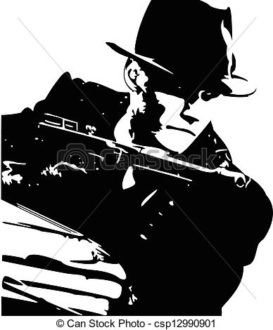 Vector Clipart Of Mafia   Man In A Black Suit And A Hat With A Gun In