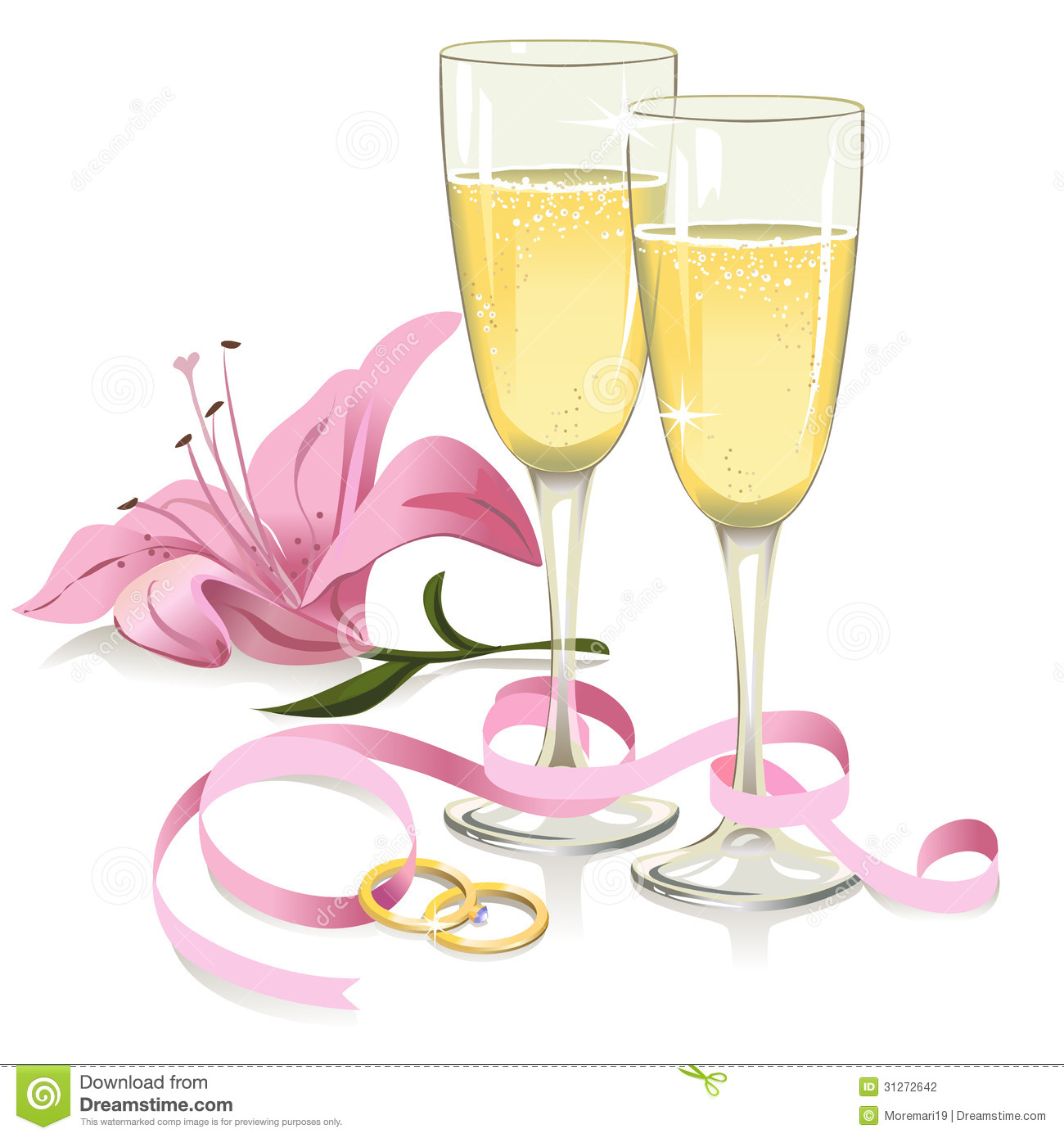 Wedding Glasses With Rings Ribbon And Lily Stock Photography   Image