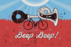 Bike With Klaxon  Retro Grunge Poster  Vector Illustration  Stock