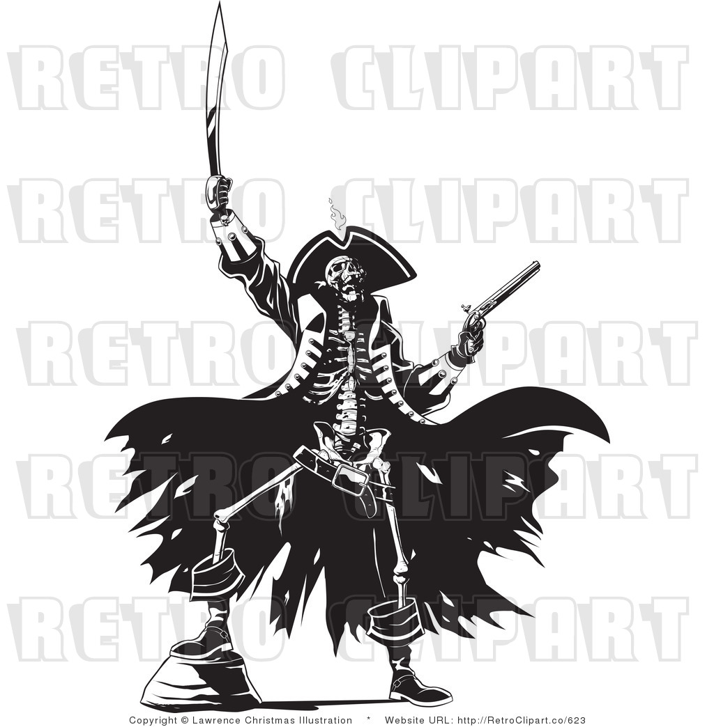 Black And White Pirate Skeleton Retro Royalty Free Vector Clipart By