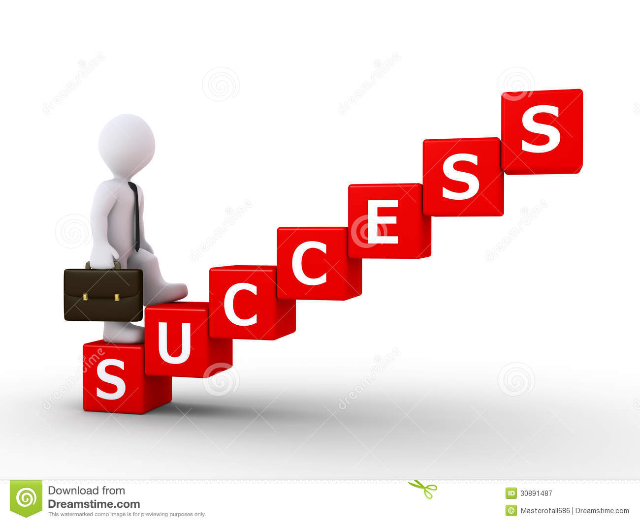 Businessman Climbing Stairs Of Success Royalty Free Stock Photography