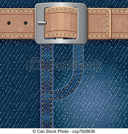 Clip Art Vector Of Jeans Background With Leather Beltl Detailed Vector