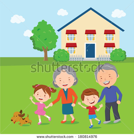 Elderly Couple Taking A Walk  A Cheerful Grandparents With Their