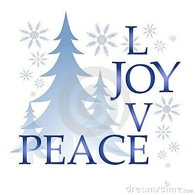 Love Joy Peace Christmas Card With Tree And Snow By Madartists Via