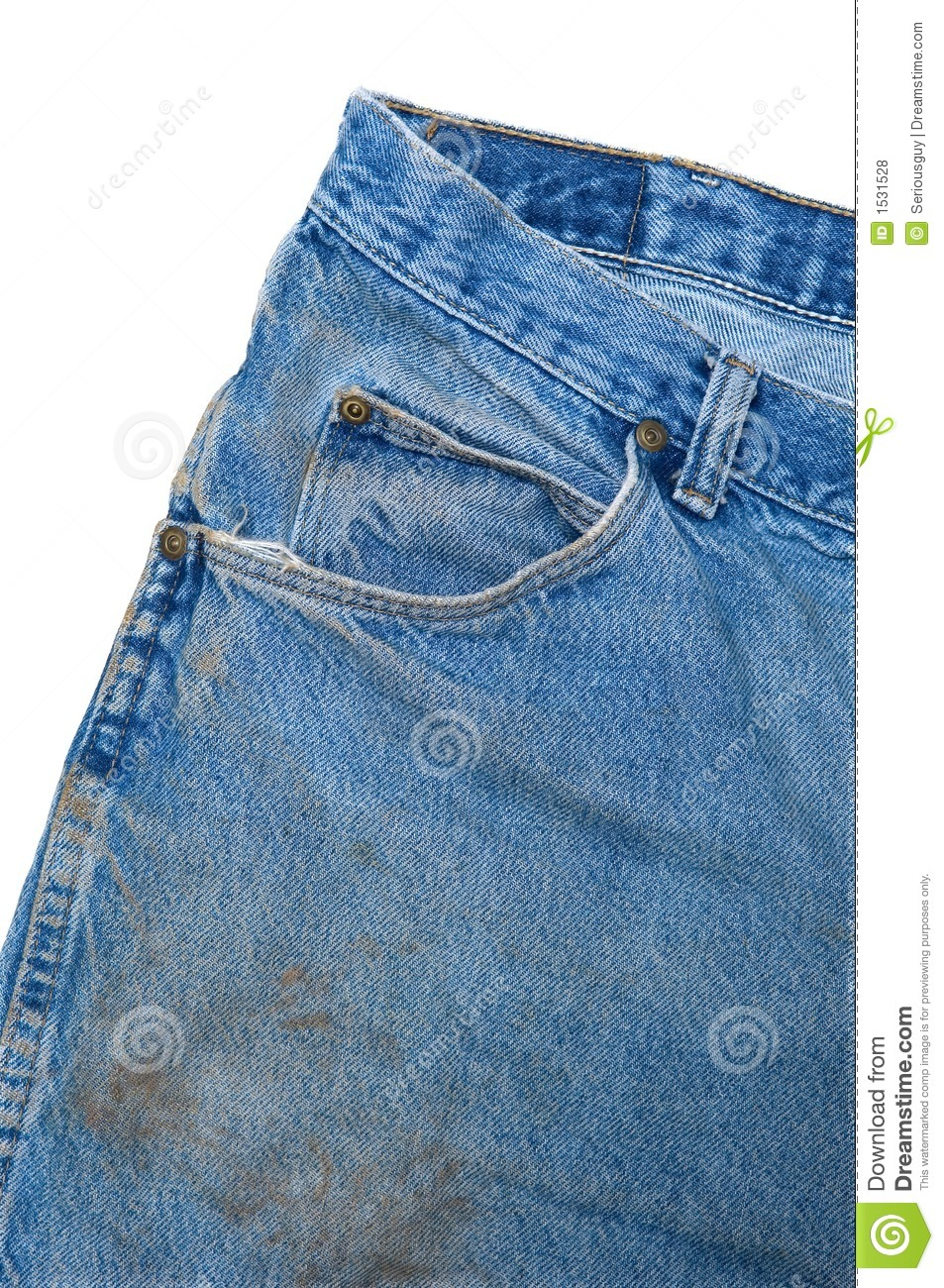 Pocket Detail Of Dirty Blue Jeans Royalty Free Stock Photos   Image