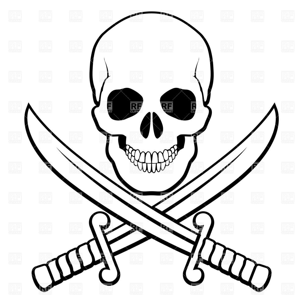 Sabers Beneath  Black And White Illustration Of Pirate Symbol Vector