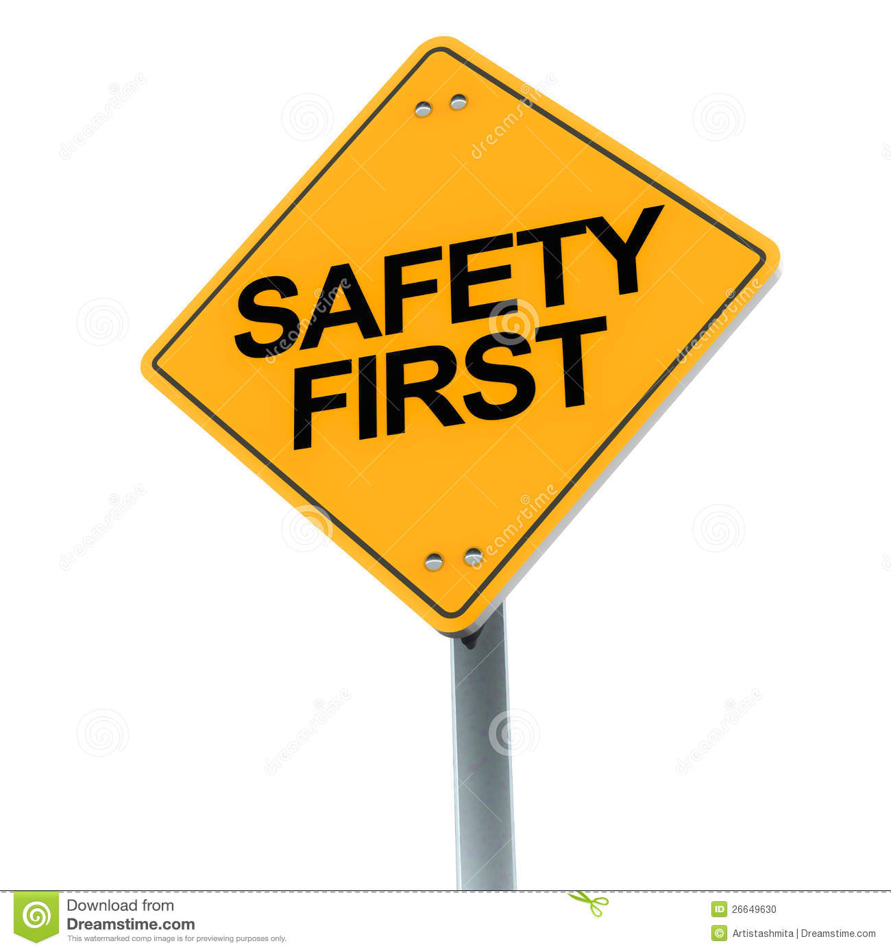 Safety First Road Sign On Clean Background Showing Concern For Safety