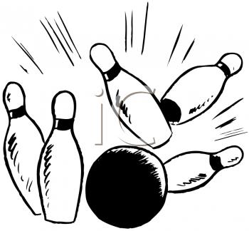 Bowling Ball Knocking Bowling Pins Down   Royalty Free Clip Art