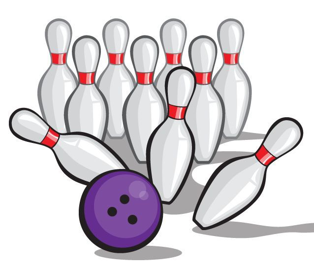 Bowling Ball Vector Crashing Into Pins   Pow  Clip Arts Clip Art