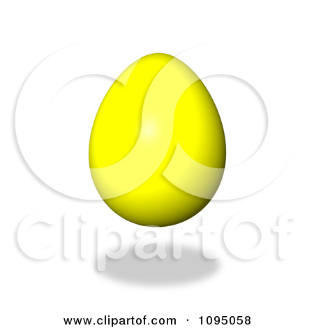Clipart 3d Floating Yellow Easter Egg And Shadow   Royalty Free Cgi