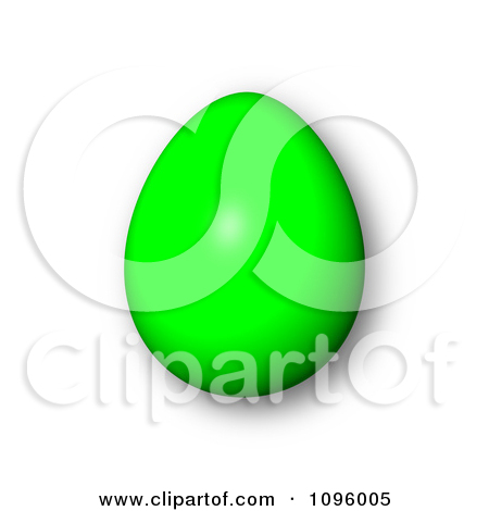 Clipart 3d Green Easter Egg And Shadow   Royalty Free Cgi Illustration
