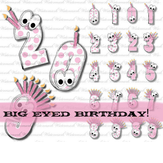 Coupon Birthday Clip Art Numbers In Pink Solid And Dots Polka Dot 0 1