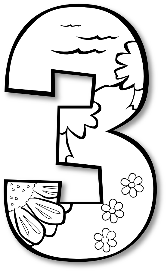Creation Day 3 Number Ge 1 Black White Line Art Scalable Vector